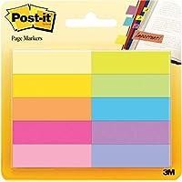 3M Post-It - Marcadores adhesivos para libros Pack 10 x 50 hojas – Notas adhesivas de papel de 12.7 x 44.4 mm – color surtido