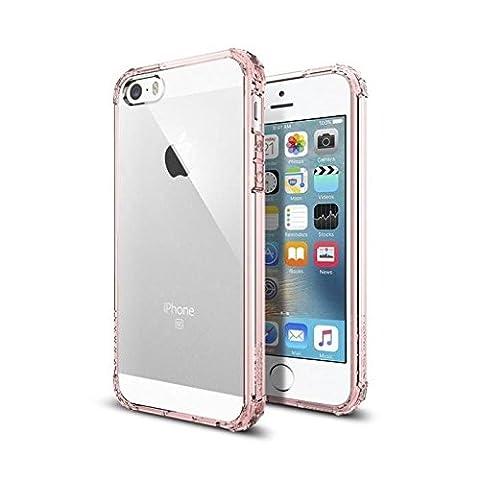 iPhone SE Hülle, Spigen® iPhone 5S/5/SE Hülle [Crystal Shell] Extra-Schock Absorption [Rose Crystal] Durchsichtige und Transparente Rückschale + Ausgeführtes TPU-Bumper Schutzhülle für iPhone SE/5S/5 Case, iPhone SE/5S/5 Cover - Rose Crystal (041CS20178)