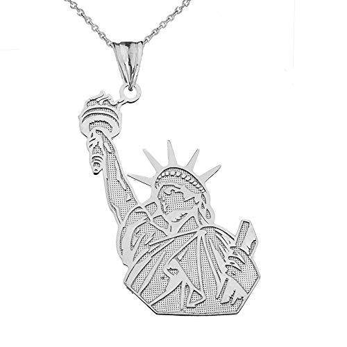 Detailed Statue of Liberty Anhänger Halskette in 10 Karat Weißgold (Kommt mit Einer 45 cm Kette)