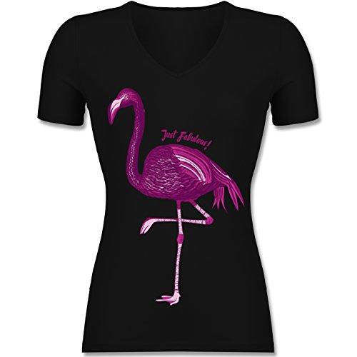 Shirtracer Vögel - Flamingo - Just Fabulous - Tailliertes T-Shirt mit V-Ausschnitt für Frauen Schwarz