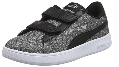 Puma Mädchen Smash V2 Glitz Glam V Ps Sneaker, Schwarz (Puma Black-Puma Silver-Puma White), 28 EU