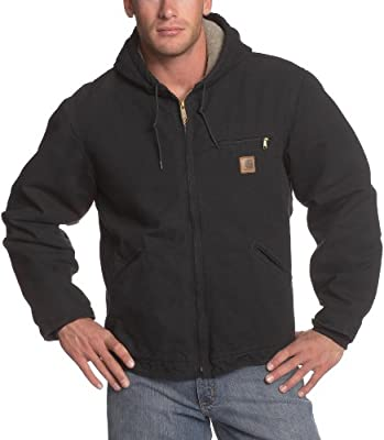 Carhartt Men's Big & Tall Sherpa Lined Sandstone Sierra Jacket J141,Black,XX-Large Tall