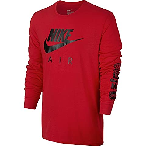 Nike Tee Air Ls - Camiseta de manga larga para hombre, color rojo, talla XL