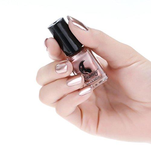 Vernis à Ongles Miroir, Internet Bordé de Pâte d'argent Métal Couleur Acier Inoxydable Miroir Argent Vernis à Ongles Pour Nail Art (Or Rose)
