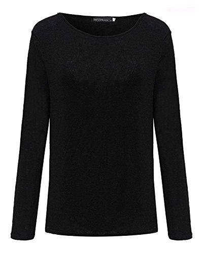 T Shirt Donna Elegante Top Rotondo Collo Taglie Forti Manica Lunga Blusa Sciolto Camicia Primavera Puro Colore Casual Camicetta In Maglia Ufficio Nero
