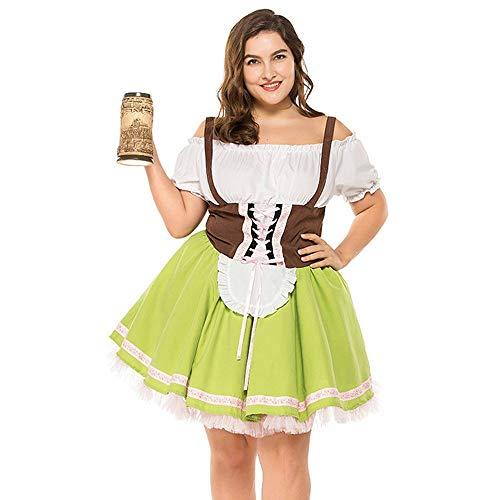 UJUNAOR Oktoberfest Mädchenkostüm Kleid Plus Größe Maid Kostüm -