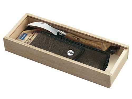 Opinel-Pilzmesser, Etui, Holzbox, mit persönlicher Gravur auf der Klinge