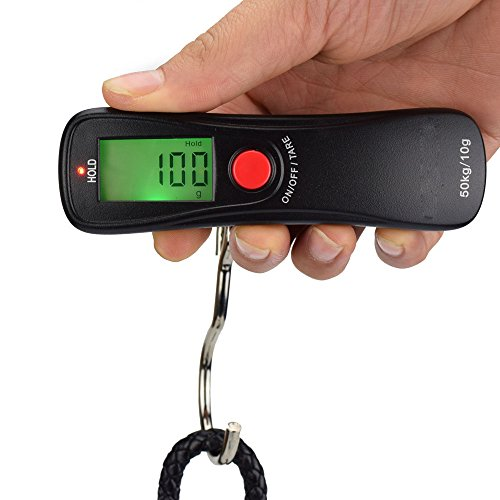 GuDoQi® 50Kg/10G Mini Portable Elektronische Waage Gewicht Kofferwaage Digitale hängende Hakenskala Hohe Präzision