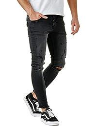 61e59942c9da EightyFive Herren Denim Destroyed Jeans-Hose Skinny Fit Zerrissen Schwarz  EFJ185