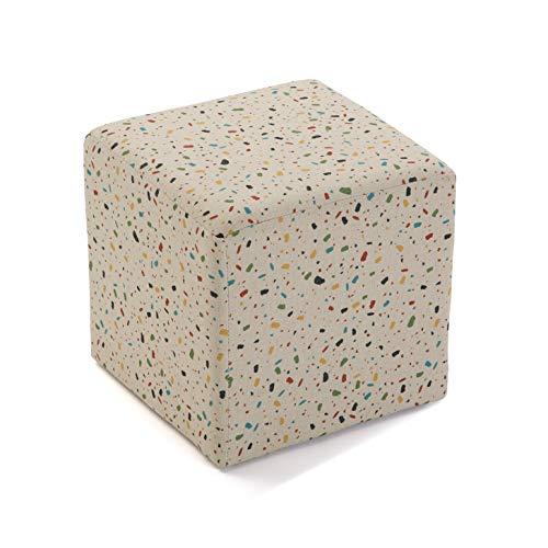 Versa 21351137 Tabouret Cube Vivid Terrazzo, Structure en Polyester et Bois, 35 x 35 x 35 cm