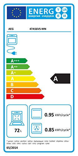 AEG 47A56VS-MN Freistehender Elektroherd / 72 Liter Heißluftofen mit großem Backblech / Keramikkochfeld mit 4 Kochfeldern inkl. Zweikreis- und Bräterzone / 60 cm Herd mit Backofen der Klasse A (95 kWh) / silber - 2