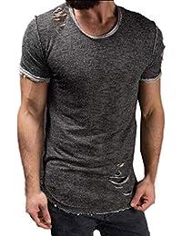 Camiseta de Manga Corta con Cuello Redondo y Manga Corta para Hombre de Top Fashion de
