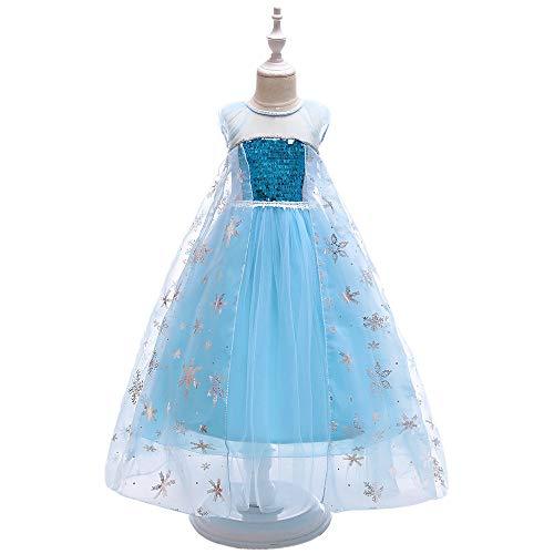 Prinzessin Eis Mädchen Kostüm - NCY Mädchen Party Outfit Kostüm Schneekönigin Prinzessin Halloween Kostüm Cosplay Kleid,150cm
