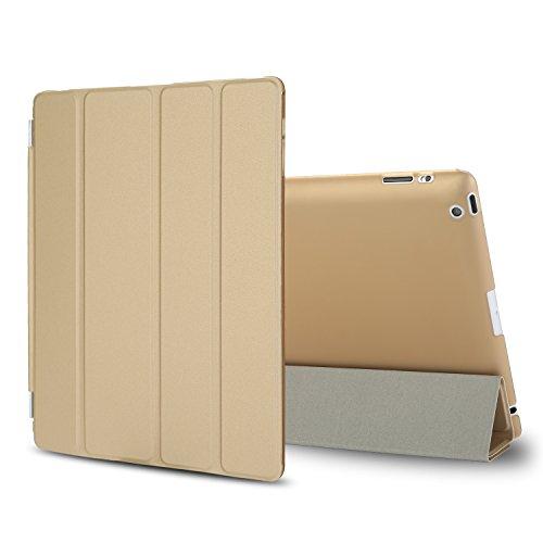 Besdata iPad 2 3 4 Hülle Smart Cover Schutz Case Leder Tasche Etui für Apple iPad Ständer Sleep Wake mit Displayschutzfolie Reinigungstuch Stift Gold