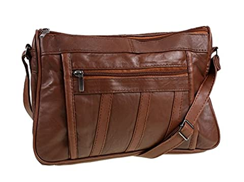 Womens Super Soft Nappa Leather Shoulder Bag / Handbag with Two Main Zipped Compartments ( Tan )
