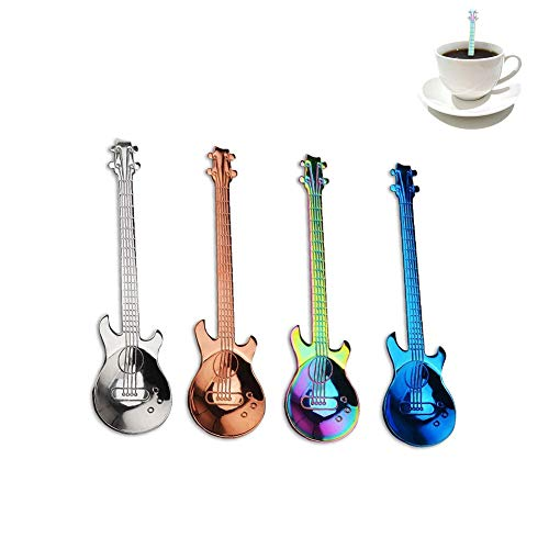Hihey Stainless Steel Coffee Spoon Music Theme Guitar Coffee Dessert Tea Spoon Kitchen Accessories for Cafe Bar Home. As a nice gift