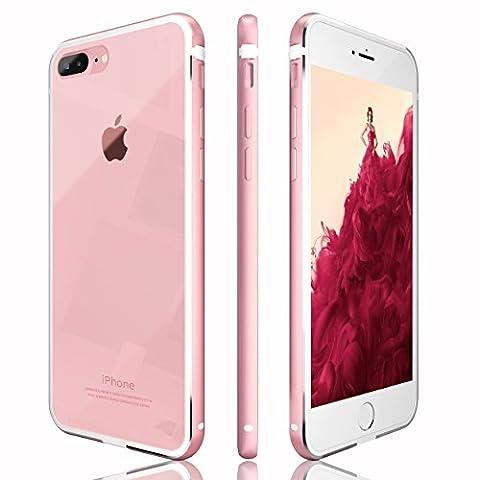 Coque iPhone 7 Plus, CuckooCase® Luxe Métal Bumper Transparent / Transparente Housse Ultra Anti Choc Slim Thin Silicone étui Pour Apple iPhone7 Plus, Rose Gold