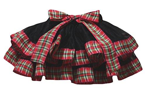 Petitebelle Dress Black 4 Layer Plaid Red Ribbon Girl Petal Skirt Nb-8y (1-3 Jahr) (Schwarz Plaid Ribbon)