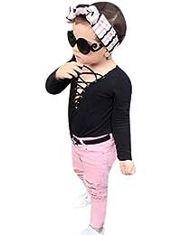 2PCS Bebé Correa camiseta +rotos Denim pantalones ropa Conjunto,Yannerr Recién nacido niña niño primavera vaqueros tejana bordada Jeans manga larga top mono abrigada abrigo traje