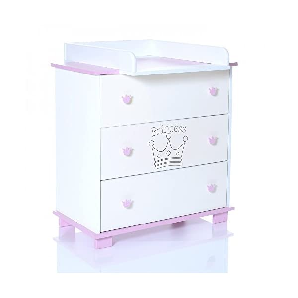 Baby Changing Chest Princess - Nursery Furniture Changer Unit With 3 Drawers - Baby Changing Table removeable LCP Kids® Princess wooden chest of drewers baby changing table Cute wood engraving of the crown application in the front of middle drawer 3 big sized drawers and a removable changing table unit and height of 95 cm 2