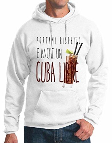 felpa con cappuccio frasi simpatiche cocktail cuba libre S M L XL XXL maglietta by tshirteria bianco
