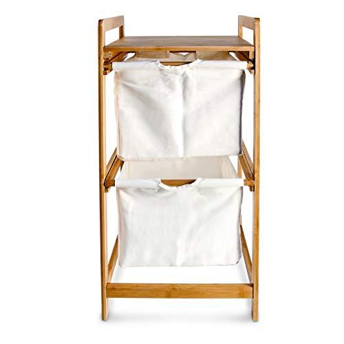 Relaxdays Wäschesammler mit 2 Fächern LINEA, Bambus, 37x33x73 cm - 3