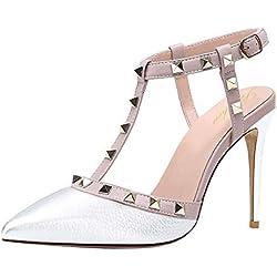 Lutalica - Zapatos de tacón de Sintético Mujer, Color Plateado, Talla 42.5/43 EU