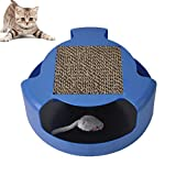 Cat Interactive Toyscorrugated Papier Cat Scratch Board Disc Design Mit Einer Laufenden Mäuse-Burrow-Maus Aktiv Gesunden Lebensstil Für Katzen Qualität Katzenspielzeug Für Alle Größen Katzen (Blau)