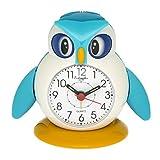 Eichmüller Kinderwecker Eule Analog Wecker mit Alarm Snooze Licht (Blau) 9848-01