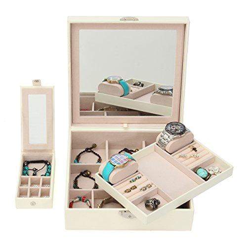 LuckyFine Boîte à Bijoux Présentoirs Boîte de Rangement Maquillage et Cosmétique avec Miroir 4 Couleurs