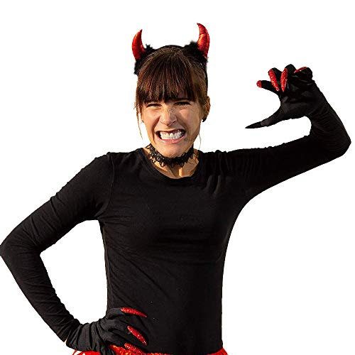 Accessoires Kostüm Hexe Handschuhe - Oblique Unique® Kostüm Accessoire Set für Hexe oder Teufel Kostüm mit Teufel Hörner Haarreifen + Hexen Handschuhe + Halsband für Halloween Fasching Karneval Motto Party