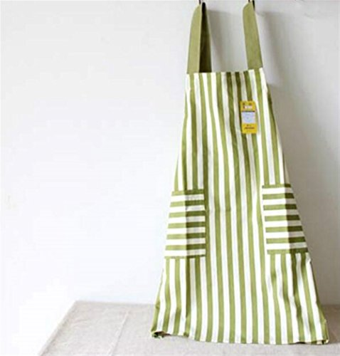 Kolimo Fashion Full Schürze Japanese Style Sleeveless Stripe Schürze mit 2 Taschen (Hellgrün)
