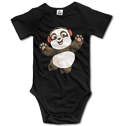 TKMSH Unisex Baby's Climbing Clothes Set Happy Panda Bodysuits Romper Short Sleeved Light Onesies for 0-24 Months Panda Infant Bodysuit