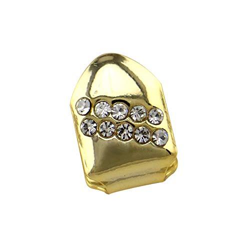 Dental Kostüm - ChenYongPing Oberer und unterer Grillsatz Luxuriöses einzelnes Gold Unisex überzogenes Hochglanz für Erwachsene Kostüm-Partei-Zusatz-Zahn-Grill-Hip-Hop Bling silbernen Zahn Zähne Hip Hop Dental Grill