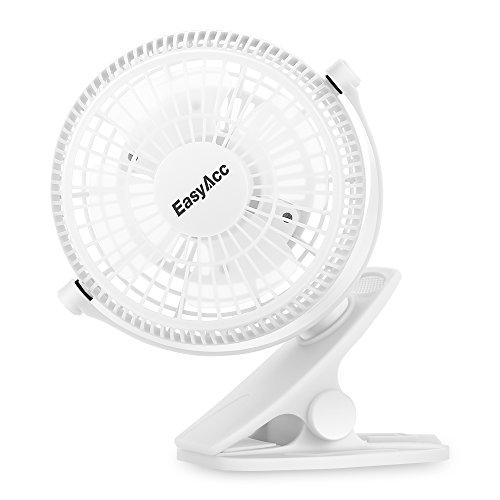 Easyacc Mini Clip Ventilatore USB Ventilatore Da Tavolo con rotazione di 720° Portatile Ventola di Raffreddamento per Casa, Ufficio, Camera da letto e altro -- Bianco