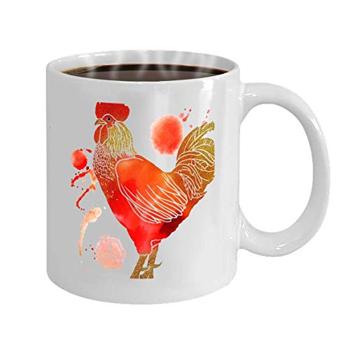 Coffee Mug Ceramic Cup Gifts 11 Ounces Rooster Inscription Isolated White Background Happy