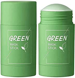 Green Tea Purifying Clay Stick Mask Oil Control Anti-Acne Eggplant Solid Fine,Portable Cleansing Mask Mud Apply Mask,Green Tea Facial Detox Mud Mask (Green Tea)