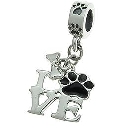 Colgante de plata de ley 925 con diseño de huellas de amor para cachorros, color negro esmaltado para pulseras de abalorios europeas