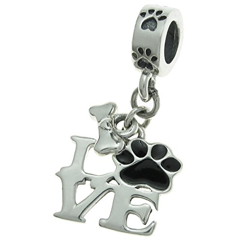 925Sterling Silber Love Puppy Paw Print Knochen schwarz Emaille baumeln für europäische Charm-Armbänder (Knochen-print)