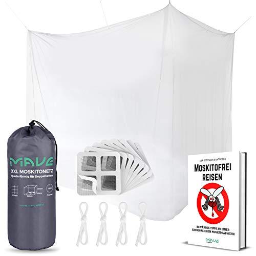 MAVE® Moskitonetz für Doppelbetten - Eckiges oder rundes Fliegennetz im XXL Format - Großes Mückennetz für Tropen Reisen inklusive Reparaturset, Befestigungsmaterial & E-Book (Kastenförmig)