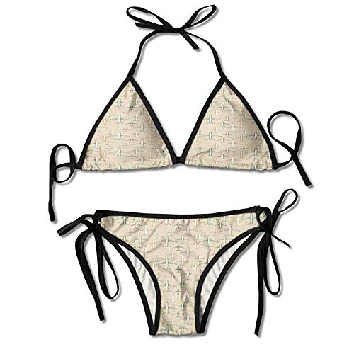 ts,Drawn Commercial Airplane Silhouettes Sexy Bikini 2 Piece ()