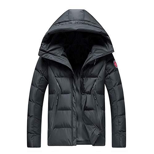 Xmiral Daunenjacke Herren Winddicht Gepolstert Steppjacke Winter Mantel Jacke mit Kapuze Windjacke Große Größe Outdoor Herbst Reißverschluss Wanderjacke(c Schwarz,XL)