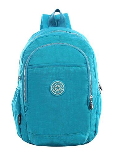 Keshi Leinwand neuer Stil Schulrucksäcke/Rucksack Damen/Mädchen Vintage Schule Rucksäcke mit Moderner Streifen für Teens Jungen Studenten Wasser-Blau