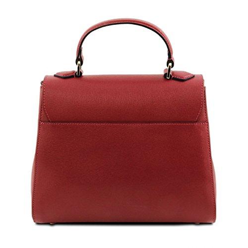 Tuscany Leather TL Bag Bauletto piccolo in pelle Saffiano Rosso Rosso