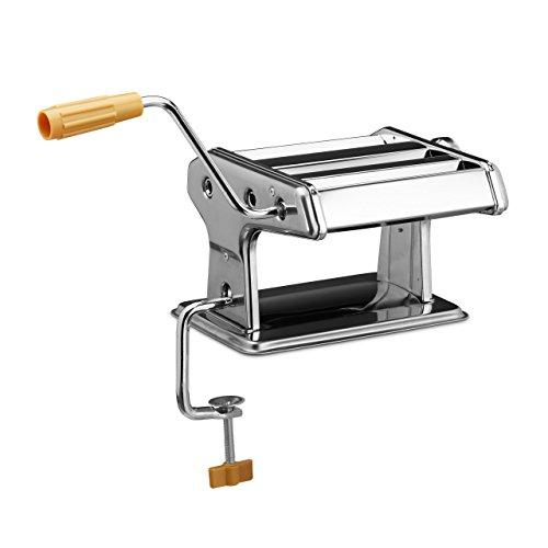 Relaxdays Nudelmaschine HBT 14 x 36 x 18,5 cm Pasta-Maker aus Edelstahl für Zuhause manuelle Nudel-Maschine für Spaghetti, Tagliatelle oder Lasagne Pastamaschine zum Ausrollen von Teig, silber