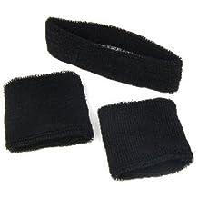 SODIAL(TM) 1 bandeau pour tête + 2 bracelets/Noir