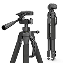 """Hama """"Action 165 3D"""" Camera Tripod Height 61-165 cm, 3-Way Ball Head, Rubber Feet & Spikes, Load-Bearing Capacity Up To 4kg, ('Light') Weight 1,320 g, incl. Carrying Bag - Black"""