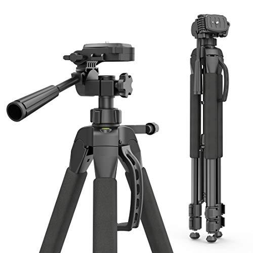 Hama Fotostativ Action 165 3D (Höhe 61-165 cm, 3-Wege-Kopf, Gummifüße und Spikes, Belastbarkeit bis 4 kg, Gewicht 1320 g leicht, Kamera Stativ inkl. Tragetasche) schwarz