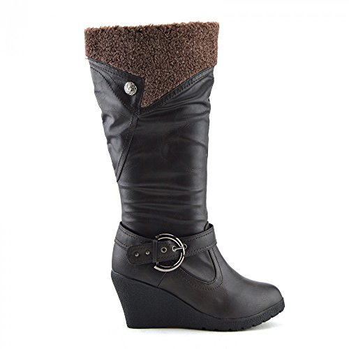 Kick Footwear Womens Wedge Heels Boots Braun