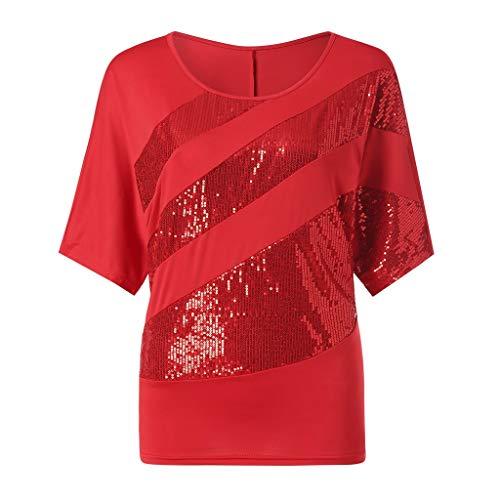 UFACE Damen Rundhals Pailletten Fledermaus Kurzarm T Shirt Frauen Causel Top Kalte Schulter Bluse Plus GrößE (L, Rot) (Eine Halloween-welpe Film)